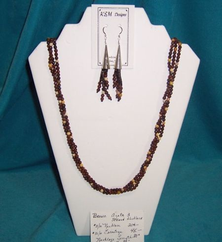 Brown Agate Necklace & Earring Set