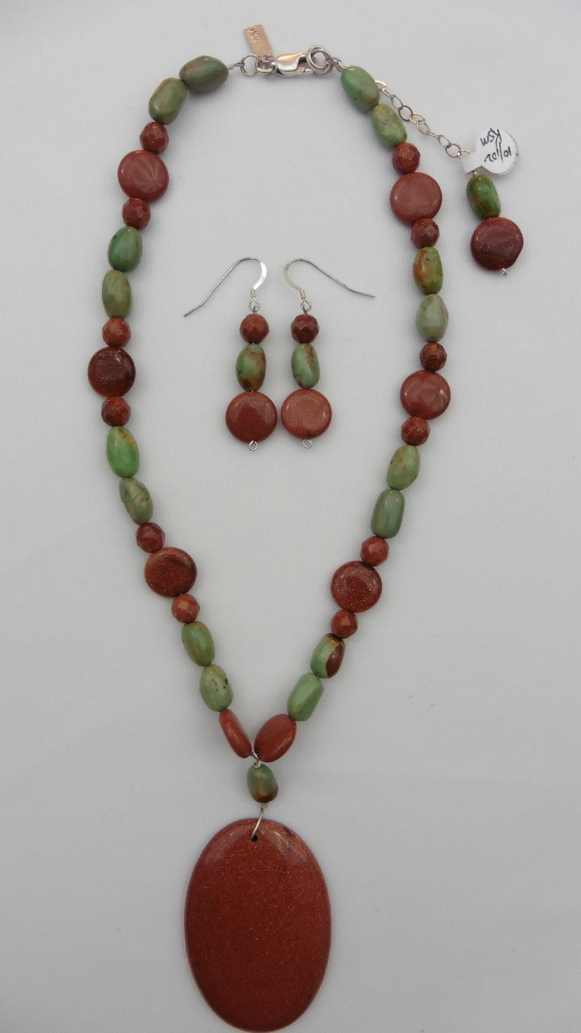 Gold Stone & Turquoise Necklace & Earring Set