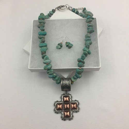 Natural Turquoise & Copper Necklace  Earring set