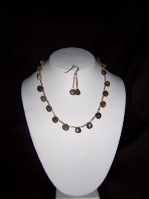 Turquoise & Heshi Necklace & Earring Set