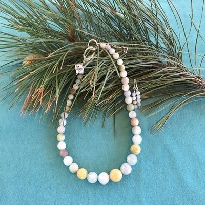 Braizalian Aquamarine  & Pewter Necklace & Earring Set