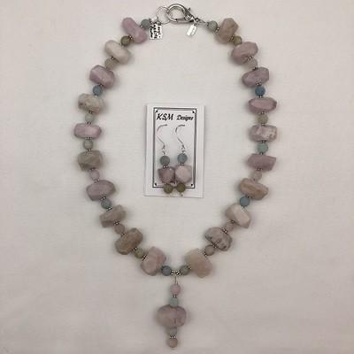 Kunzite & Beryl Necklace & Earring Set