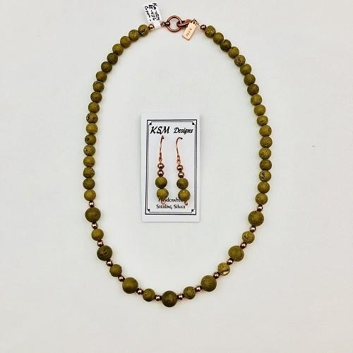 Druzy & Copper Necklace & Earring Set