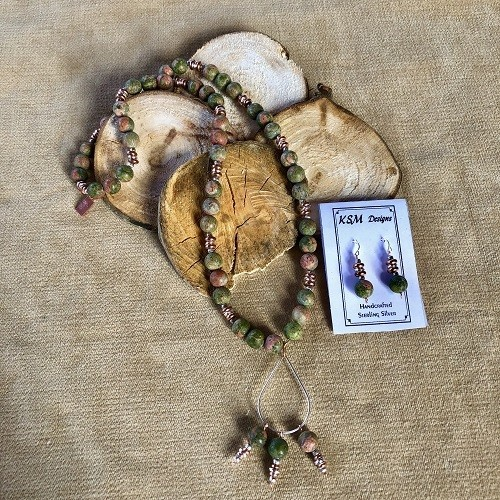 Unipet, Copper & Pewter Necklace & Earring Set