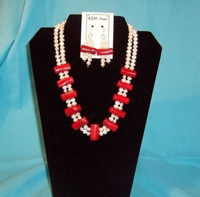 Coral & Freshwater Pearl Necklace & Earring Set