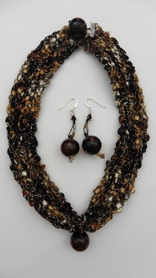 Tiger's Eye Crocheted Necklace & Earring Set