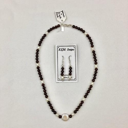 Garnet & Pearl Necklace & Earring Set