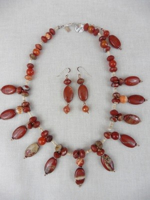 Red Jasper & Fire Agate Necklace & Earring Set