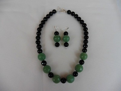 Amazonite & Onyx Necklace & Earring Set