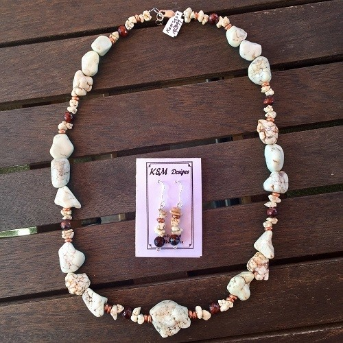 Magnesite & Tiger's Eye Necklace & Earring Seg