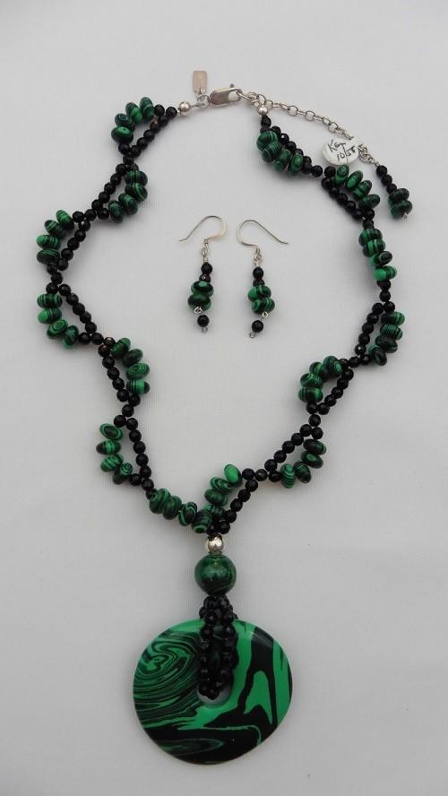 Malachite & Onyx Necklace & Earring Set