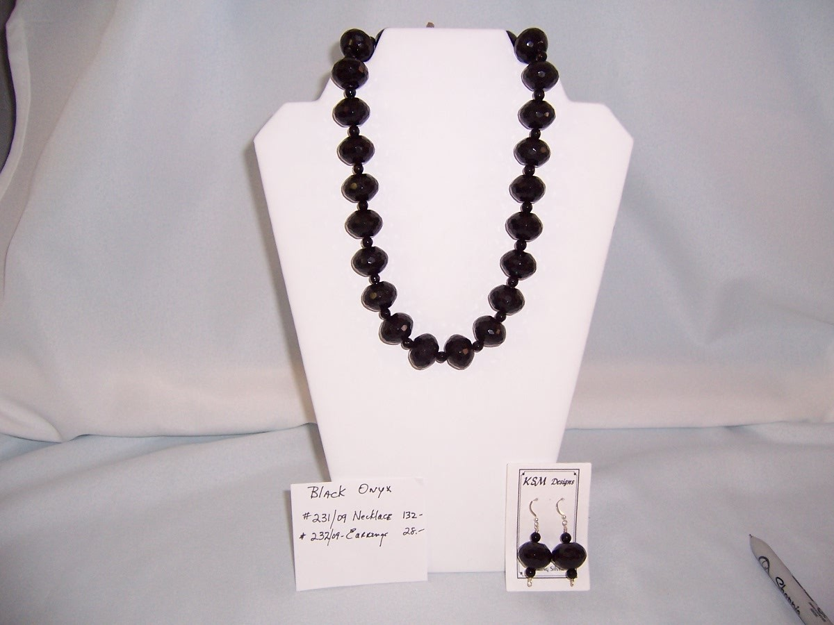 Black Faceted Onyx Necklace & Earring Set