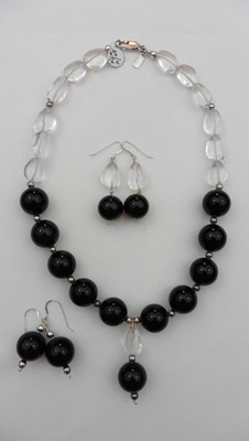 Onyx & Quartz Necklace Set