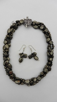 Pyrite & Onyx Necklace Set