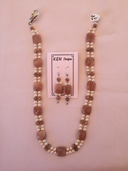 Moonstone & Freshwater Pearl Necklace Set
