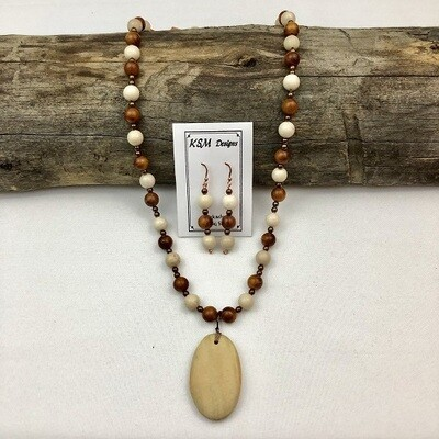 Fossil, Wood & Hematite Necklace & Earring Set