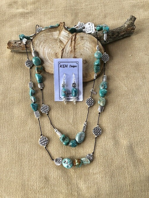 Natural Blue Turquoise & Pewter Necklac & Earring Set