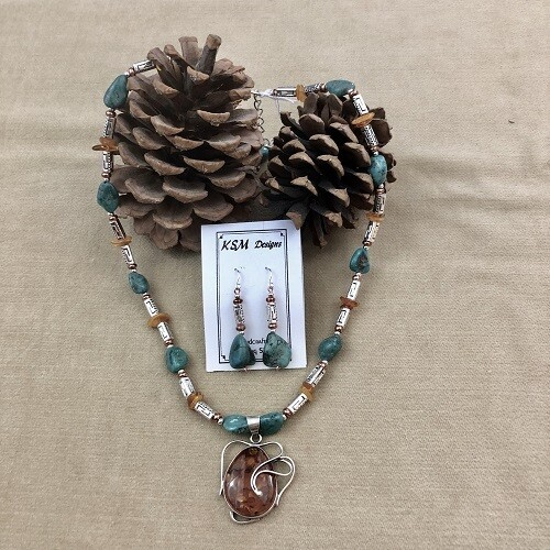 Amber, turquoise, Pewter & Copper Necklace Set