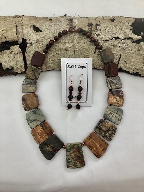Red Creek Jasper & Tiger's Eye Necklace & Earring Set