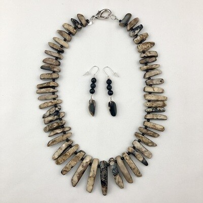 Brown & Black Agate Necklace & Earring Set