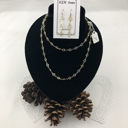 Clear Crystal Necklace & Earring Set