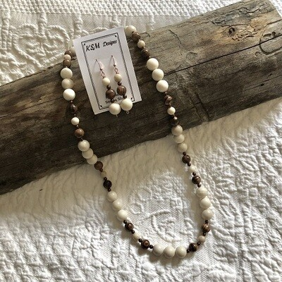Fossil, Hemitite & Wood Necklace & Earring Set