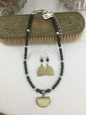 Onyx & Serpentine Necklace & Earring Set