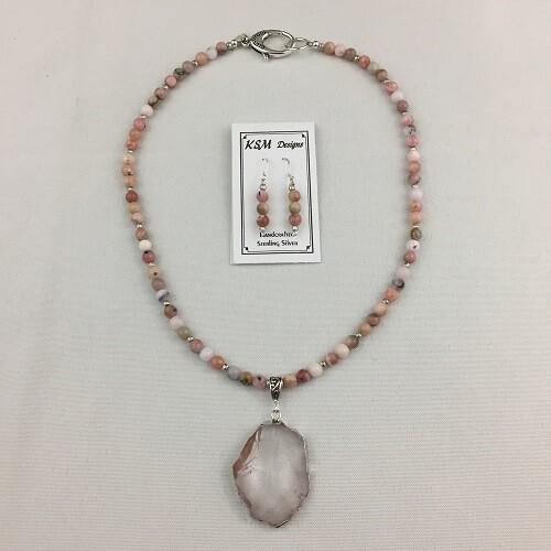 Rose Quartz Necklace & Earring Set