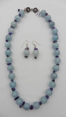 Jade & Amethyst Necklace & Earring Set