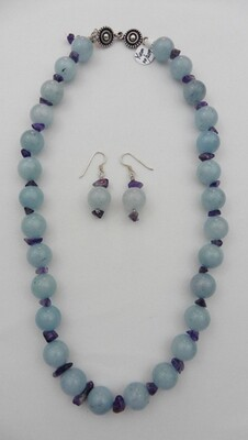 Jade & Amethyst Necklace & Earring Set