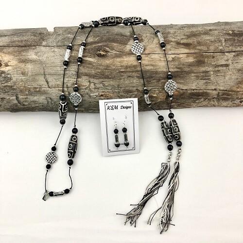 Dzi Agate, Onyx & Pewter Necklace & Earring Set