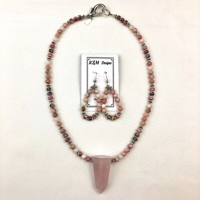 Rhodochrosite Necklace & Earring Set