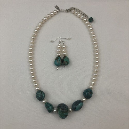 Natural Turquoise & Freshwater Pearl Necklace & Earring Set