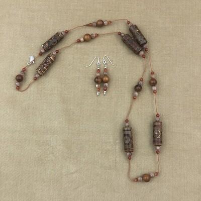 Cornelian, Agate, & Moonstone Necklace Set