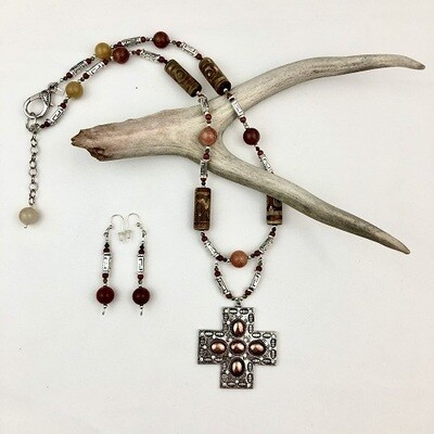 Jade, Agate & Jasper Necklace & Earring Set