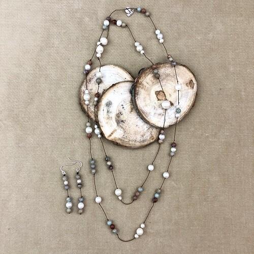 Jasper & Freshwater Pearl Necklace & Earring Set