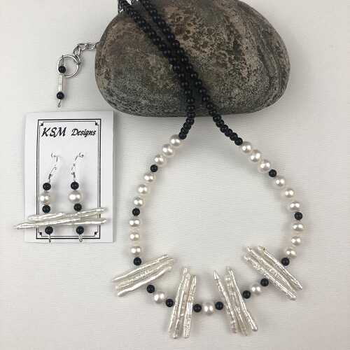 Onyx & Branch Pearl Necklace & Earring Set