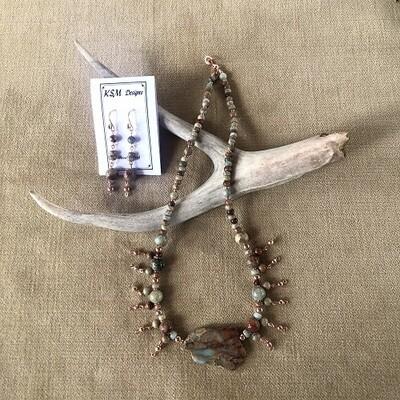 Jasper & Copper Necklace & Earring Set