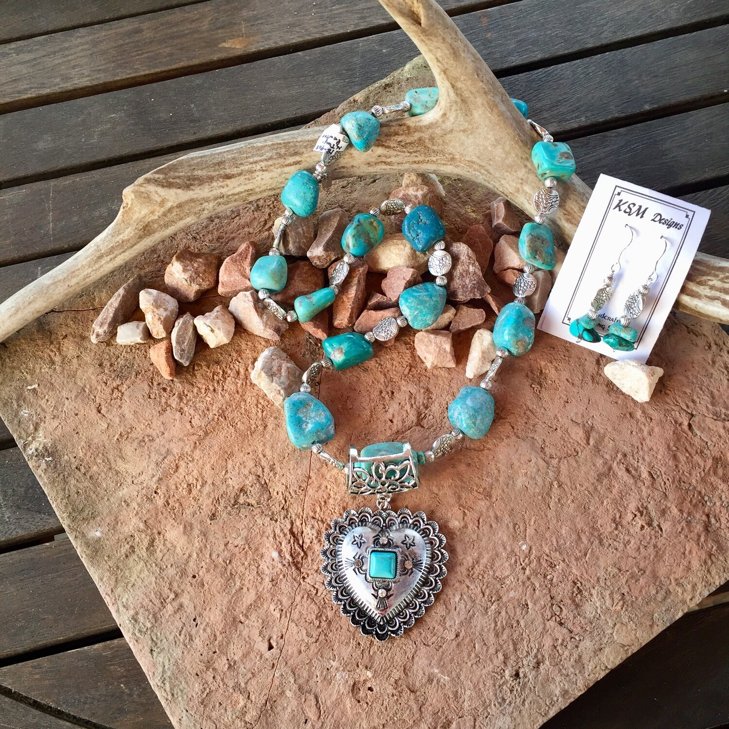 Natural Turquoise Necklace & Earring Set