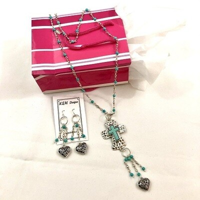 Pewter & Bead Necklace & Earring Set