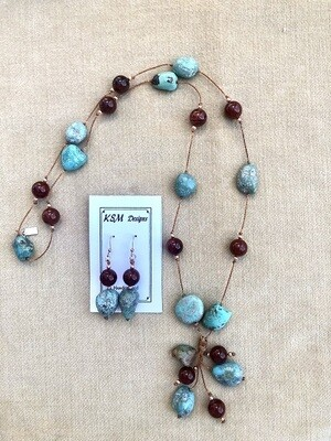 Natural Turquoise & Red Jasper Necklace & Earring Set