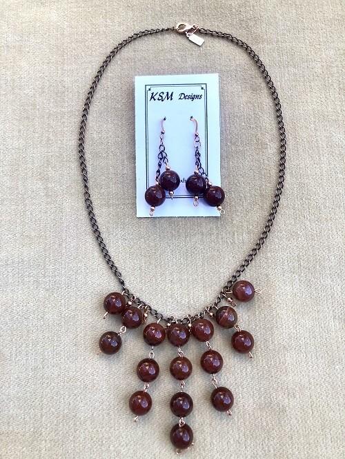 Carnelian Necklace & Earring Set