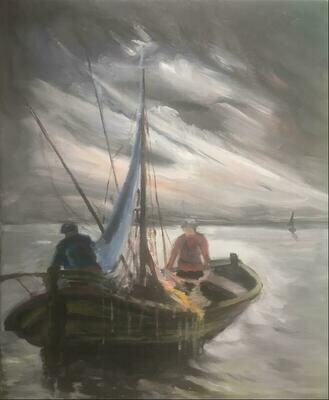 Fishing in the Iroise sea - Oil on Canvas