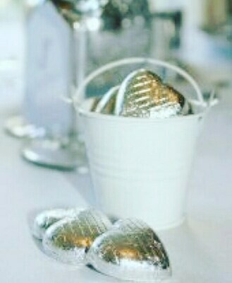 White Metal Bucket with Foil Covered Chocolate Hearts
