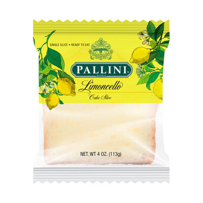 Pallini Limoncello 4 oz. Limoncello Slice Cake- 6 pack