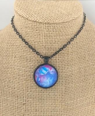 BOHO BLUE Ink Painting Pendant Necklace
