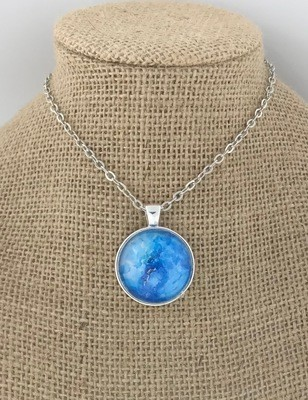 BLUE MOON Ink Painting Pendant Necklace