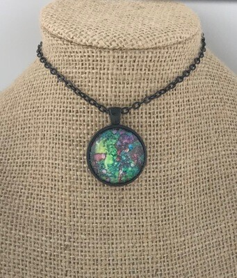 Boho Batik Ink Painting Pendant Necklace