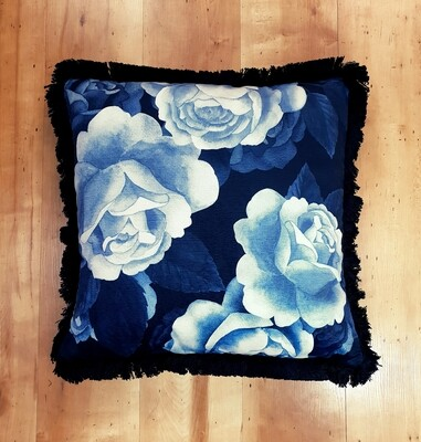 Midnight Rose Blue Cushion