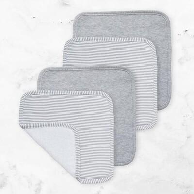 Face Washers 4pk Grey/Grey Stripe